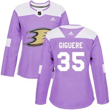Adidas Anaheim Ducks Women's Jean-Sebastien Giguere Authentic Purple Fights Cancer Practice NHL Jersey