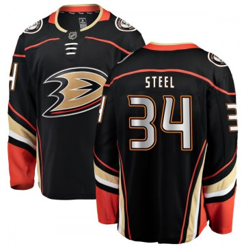 Fanatics Branded Anaheim Ducks Youth Sam Steel Authentic Black Home NHL Jersey